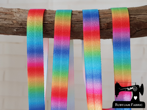 "1M Rainbow Ombre Small - Printed - 5/8"" (16mm) - Fold Over Elastic (FOE)"