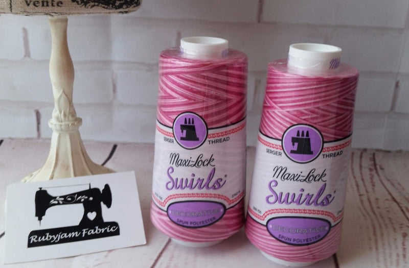 Maxi-Lock Swirls Thread - Raspberry Vanilla