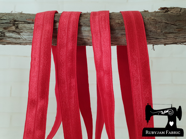 "1M Red - Solid - 5/8"" (16mm) - Fold Over Elastic (FOE)"