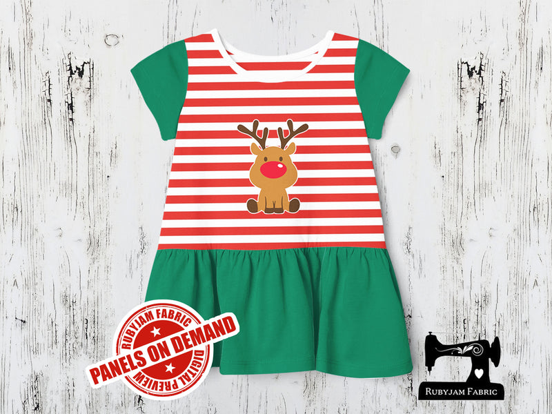 Christmas Reindeer 1 - RED WHITE YDS - Panels On Demand