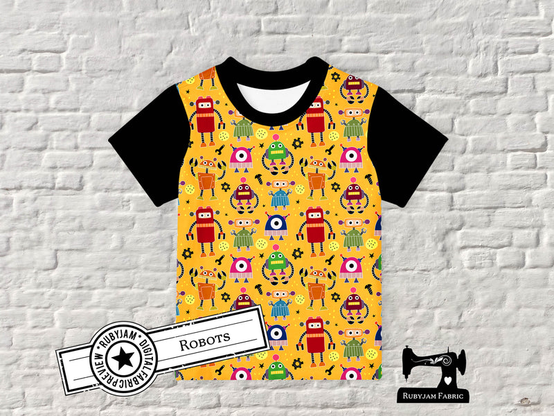 Robots - cotton lycra - 150cm wide
