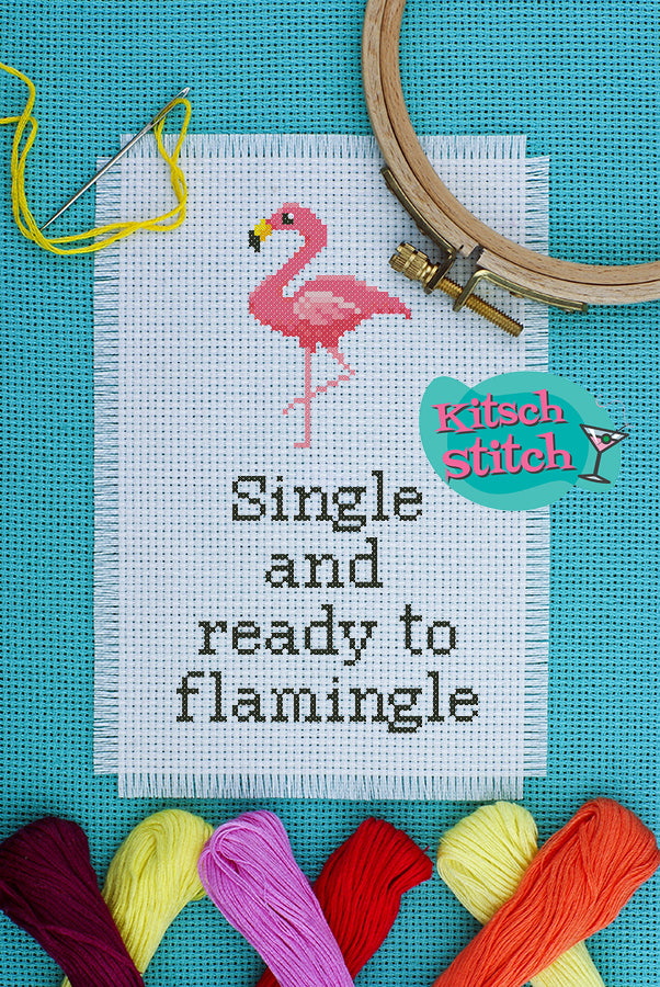 Single And Ready To Flamingle - Cross Stitch Pattern - Kitsch Stitch Studio