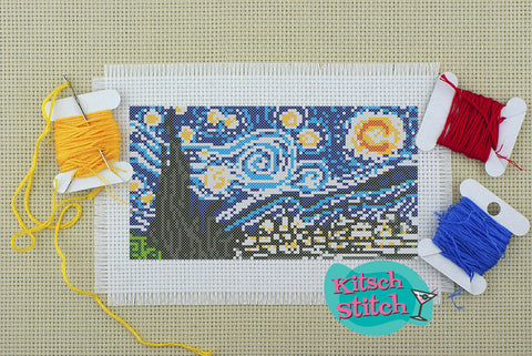 Starry Night - Cross Stitch Pattern - Kitsch Stitch Studio