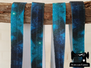 "1M Teal Galaxy - Printed - 5/8"" (16mm) - Fold Over Elastic (FOE)"