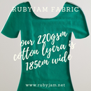Green - solid cotton lycra - 185cm wide - 220gsm