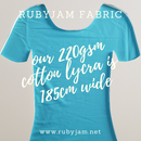 Light Blue - solid cotton lycra - 185cm wide - 220gsm