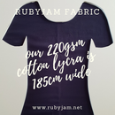 Navy Blue - solid cotton lycra - 185cm wide - 220gsm