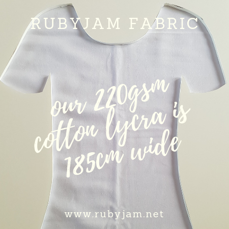 White - solid cotton lycra - 185cm wide - 220gsm