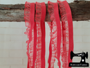 1M WATERMELON RED Decorative Elastic Ruffle Trim (Approx 15mm wide)