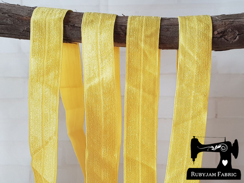 "1M Yellow - Solid - 1"" (25mm) - Fold Over Elastic (FOE)"