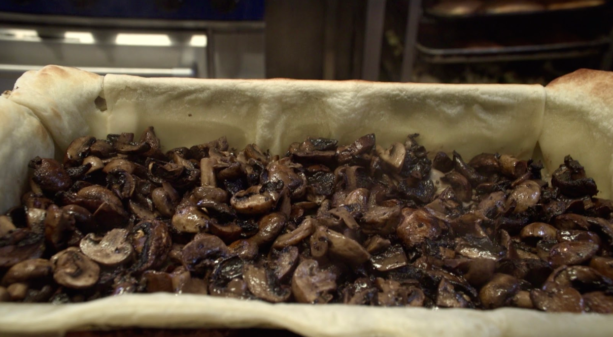 Fresh cooked mushrooms at The Soup Kitchen