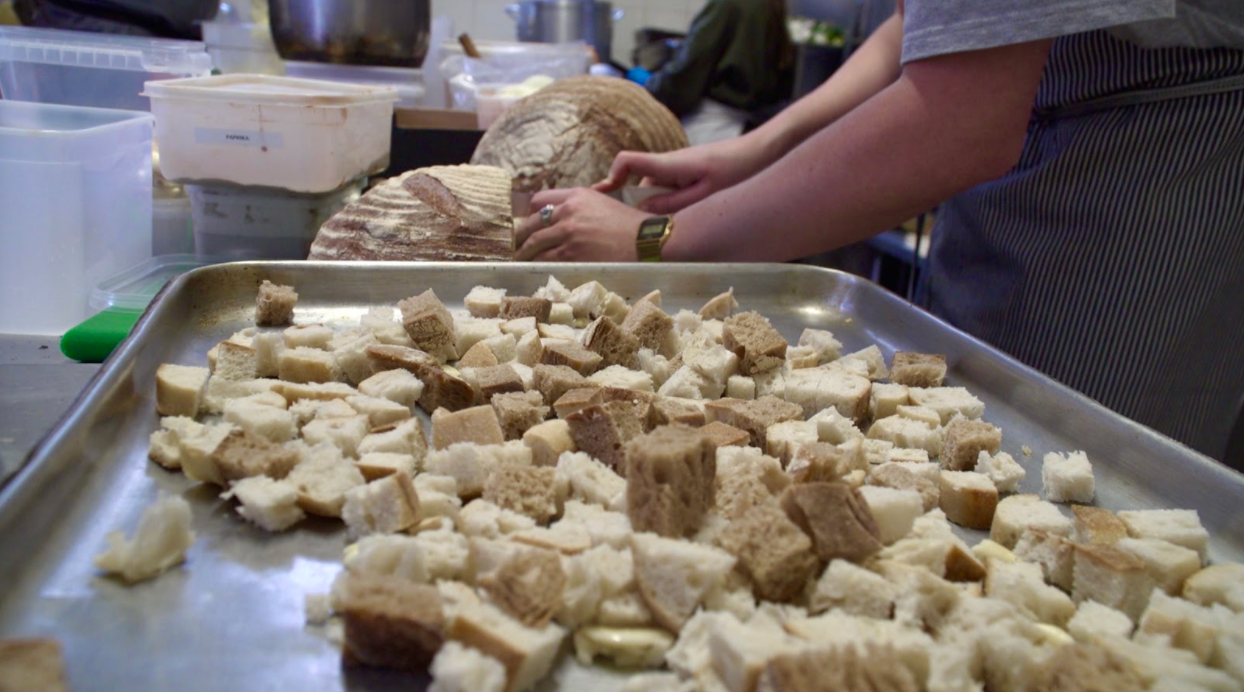 Finely chopped bread at The Soup Kitchen