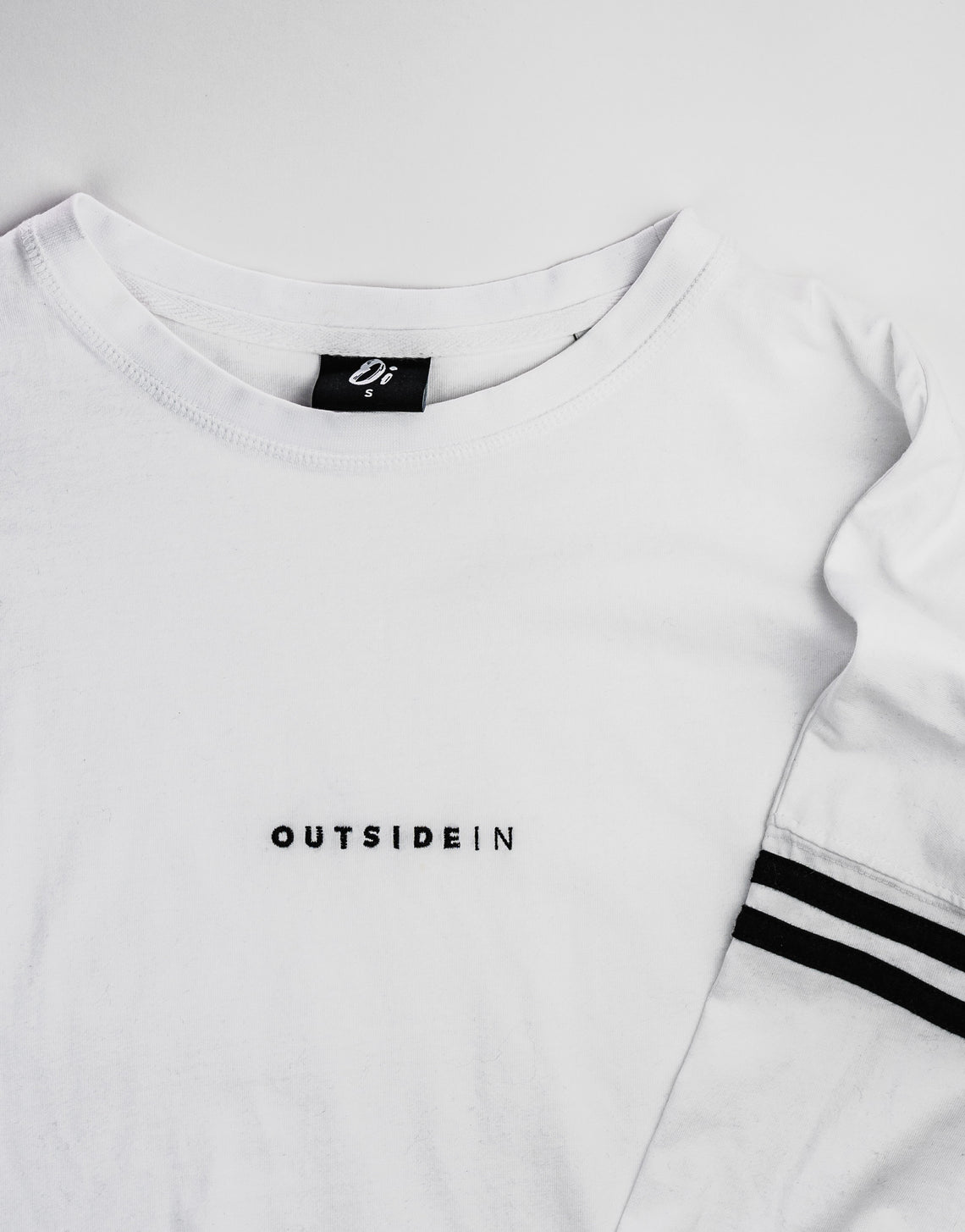 White Long Sleeve 'OutsideIn' Embroidered T-shirt | OutsideIn