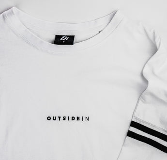 Load image into Gallery viewer, White Long Sleeve 'OutsideIn' Embroidered T-shirt