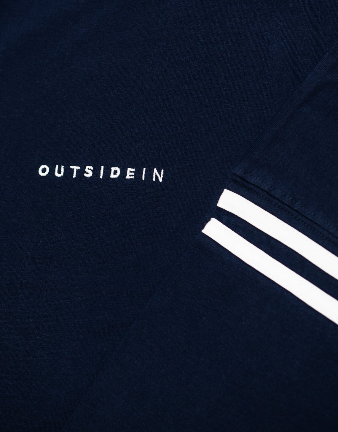 Navy Long Sleeve 'OutsideIn' Embroidered T-shirt | OutsideIn