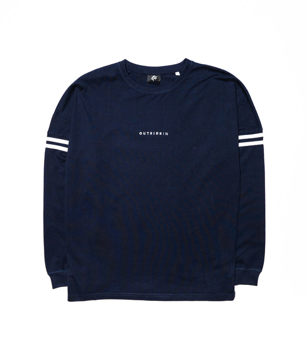Navy Long Sleeve OutsideIn Embroidered T-shirt