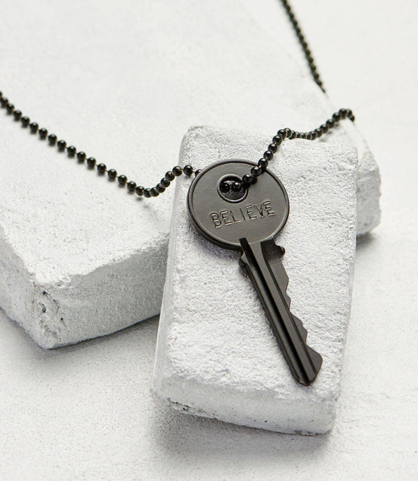 Classic Matte Black Key Necklace