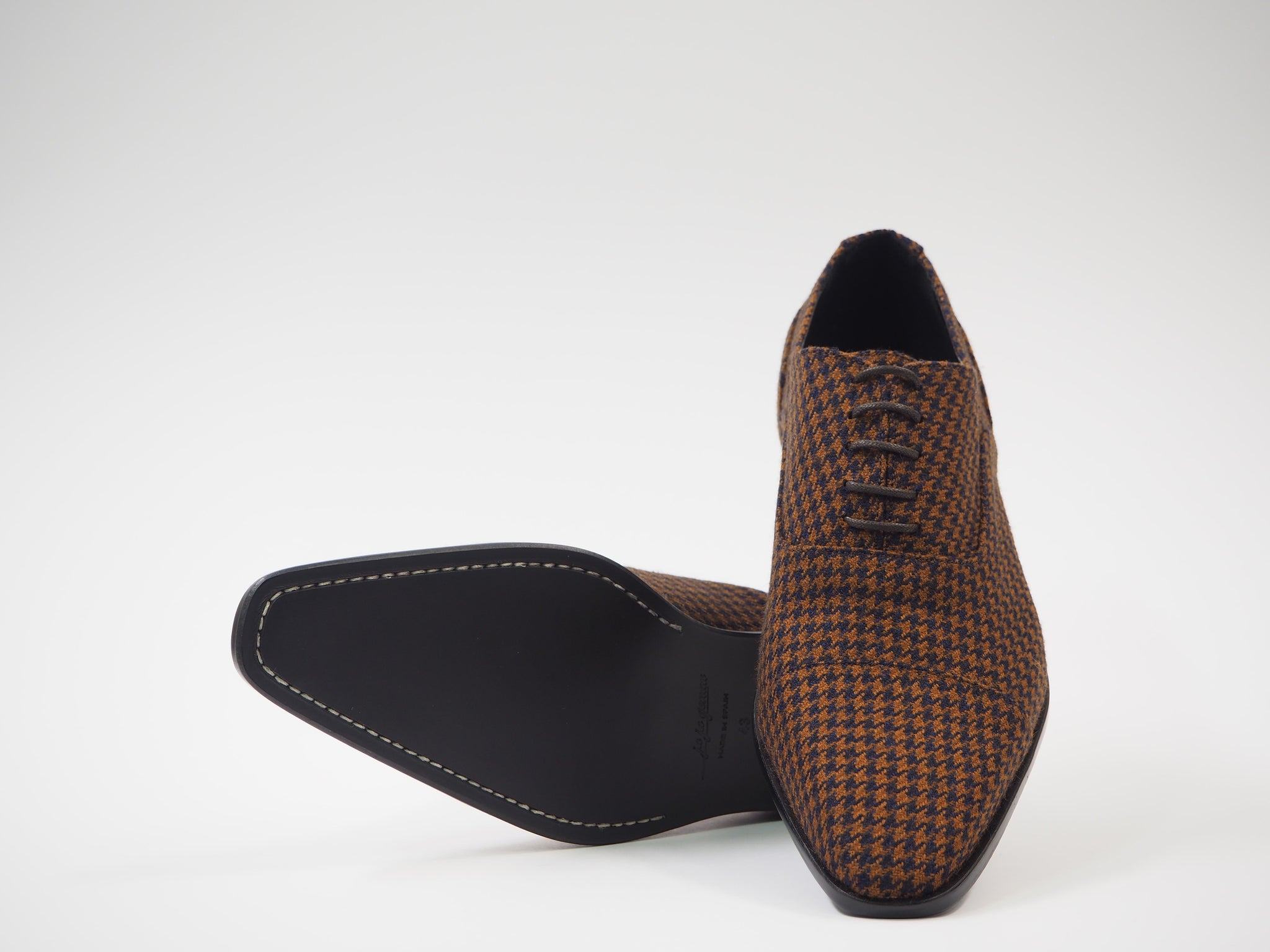 Size 43 - Copper & Blue Pied de Poule Oxford + Belt