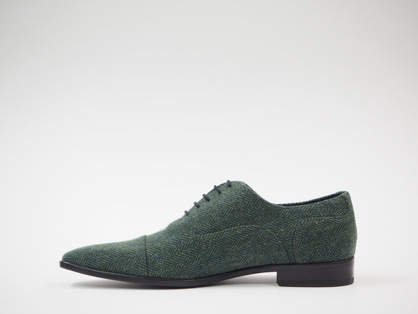 Size 43 - Turquoise & Green Herringbone Oxford + Belt