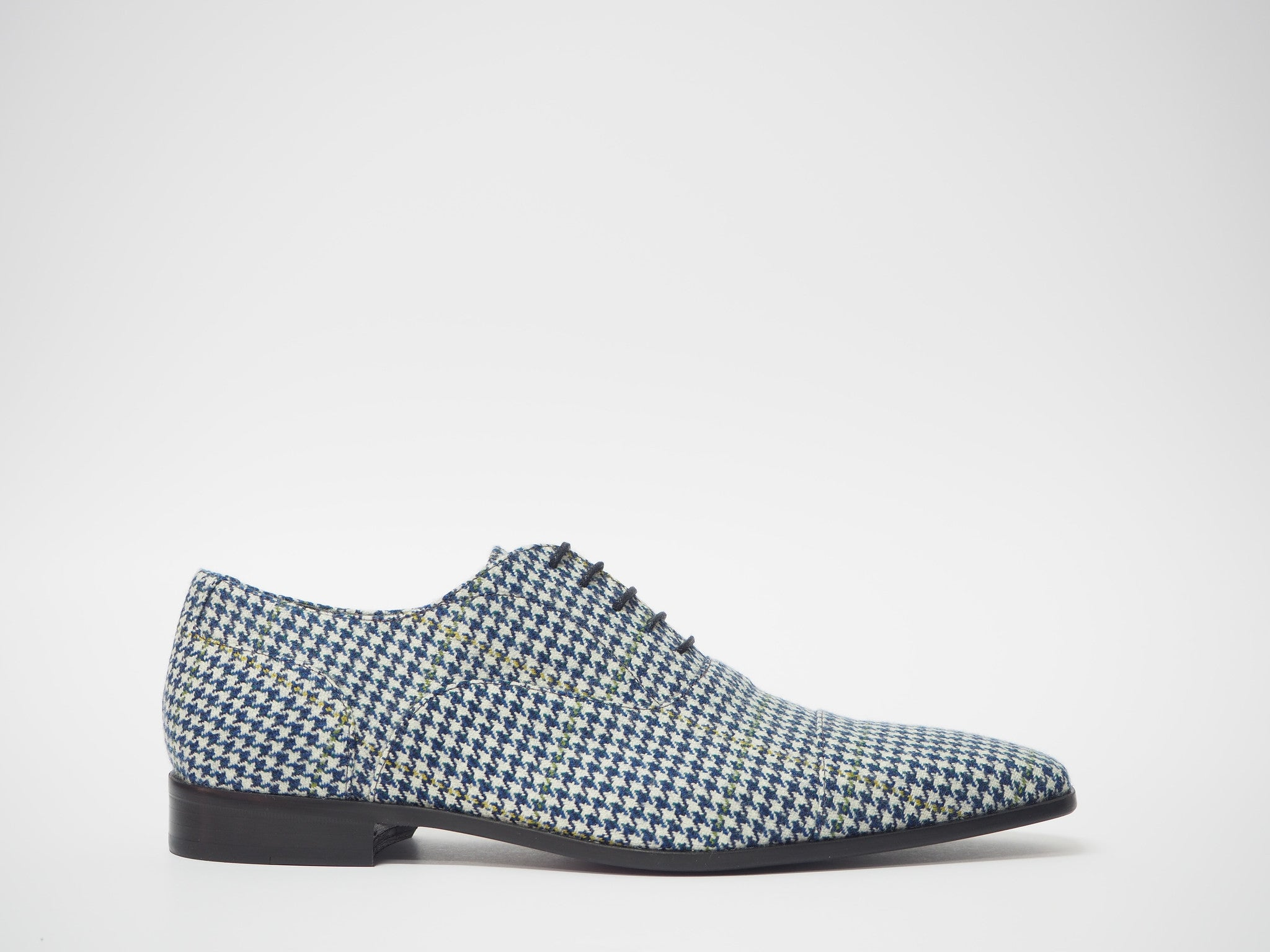 Size 45 - Blue & White Pied de Poule Oxford + Belt
