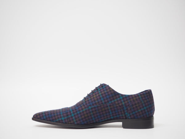 Size 43 - Blue Multicolor Tartan Oxford + Belt