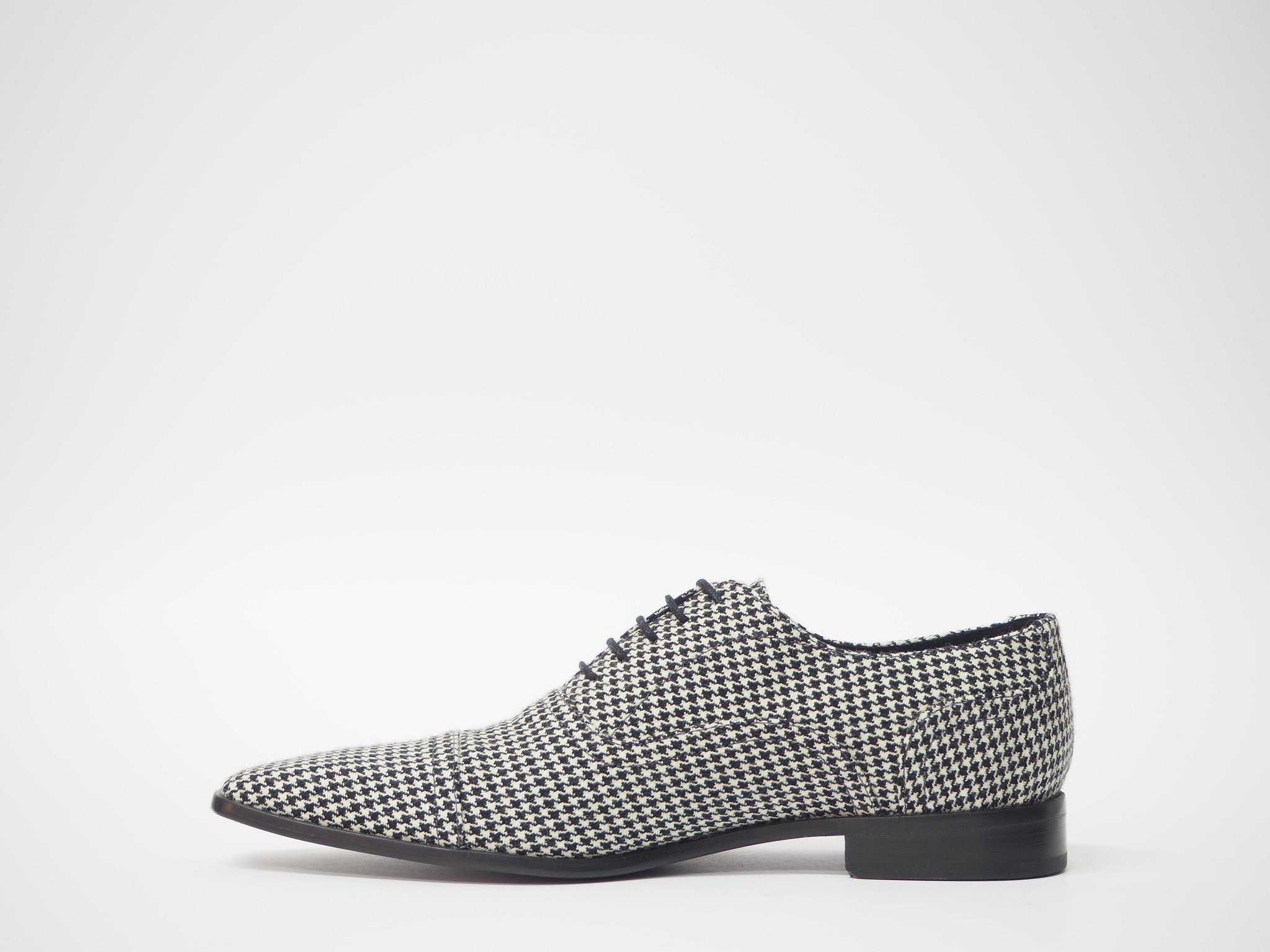 Size 44 - Black & White Pied de Poule Oxford + Belt