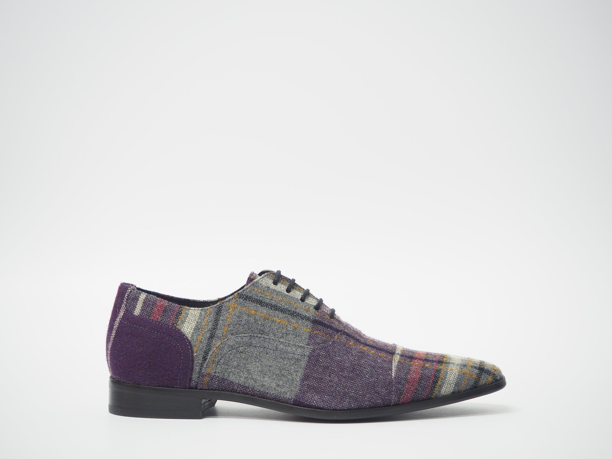 Size 42 - Purple & Gray Tartan Oxford + Belt