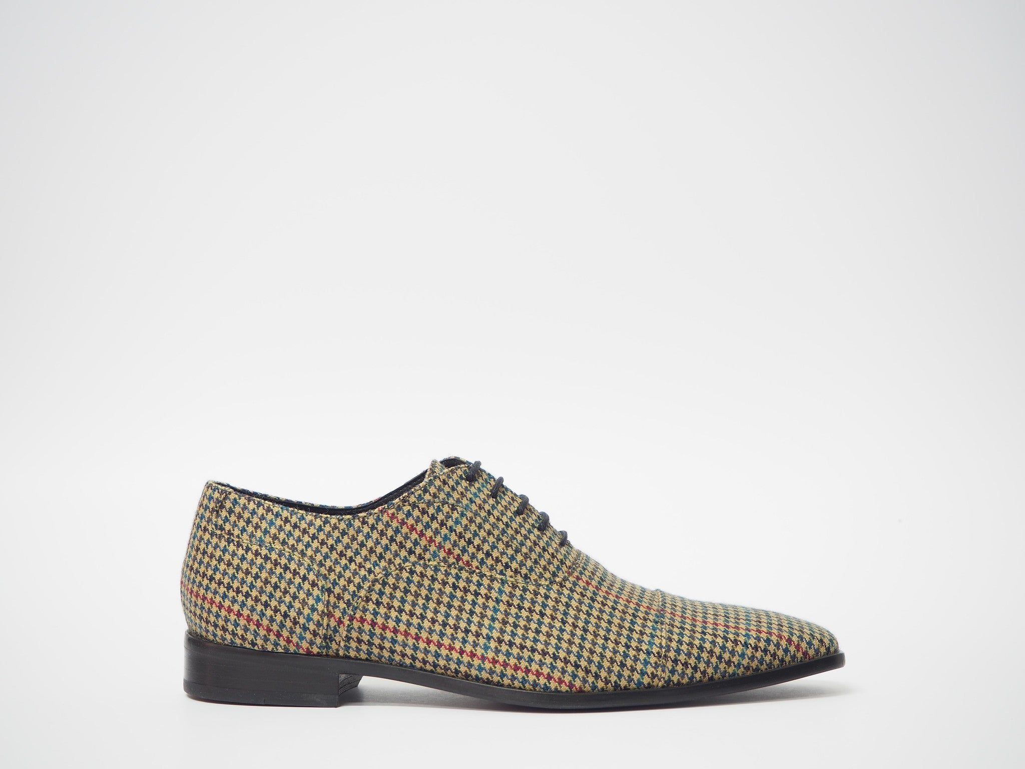 Size 41- Olive-Red Pied de Poule Oxford + Belt