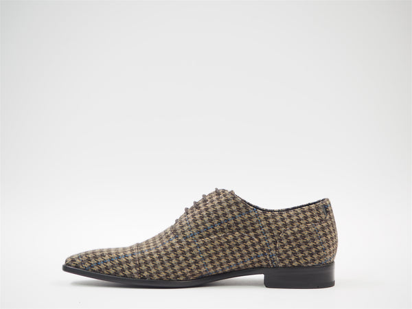 Size 43 - Brown & Blue Houndstooth Oxford + Belt
