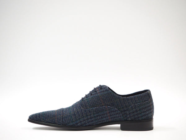 Size 44 - Multicolor Blue Tweed Oxford + Belt