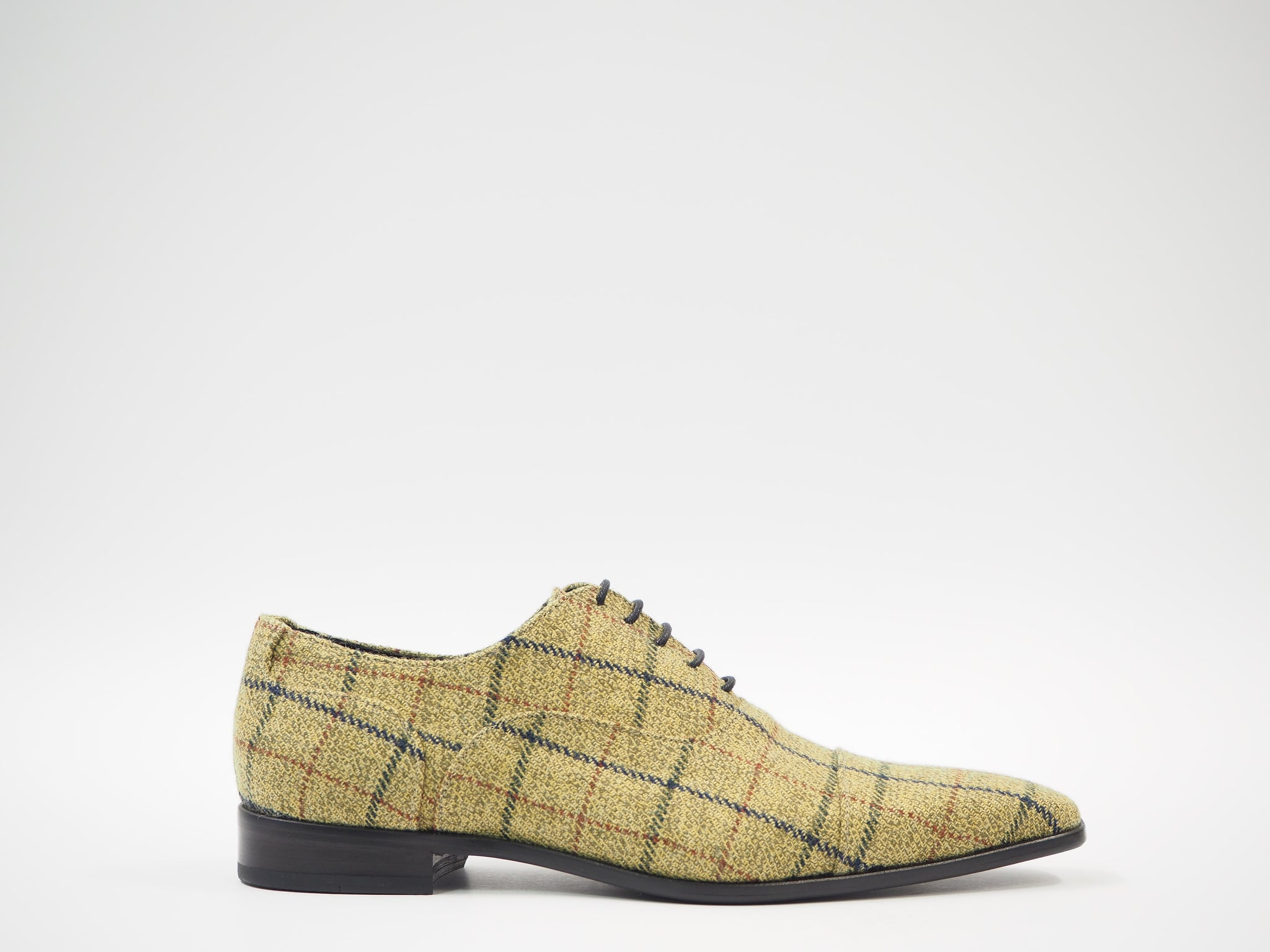 Size 43 - Olive & Yellow Tartan Oxford + Belt