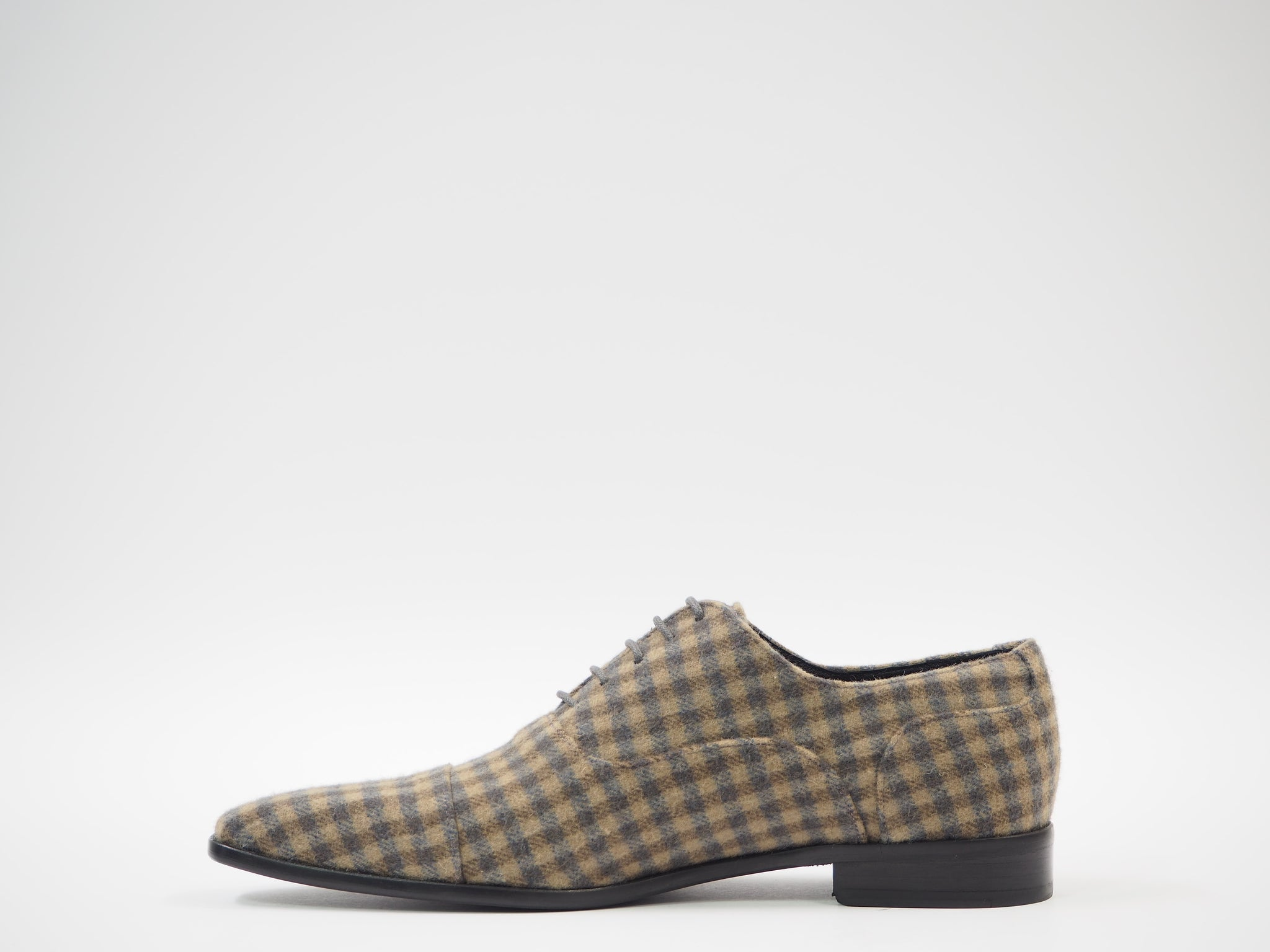 Size 43 - Gray & Tan Tartan Oxford