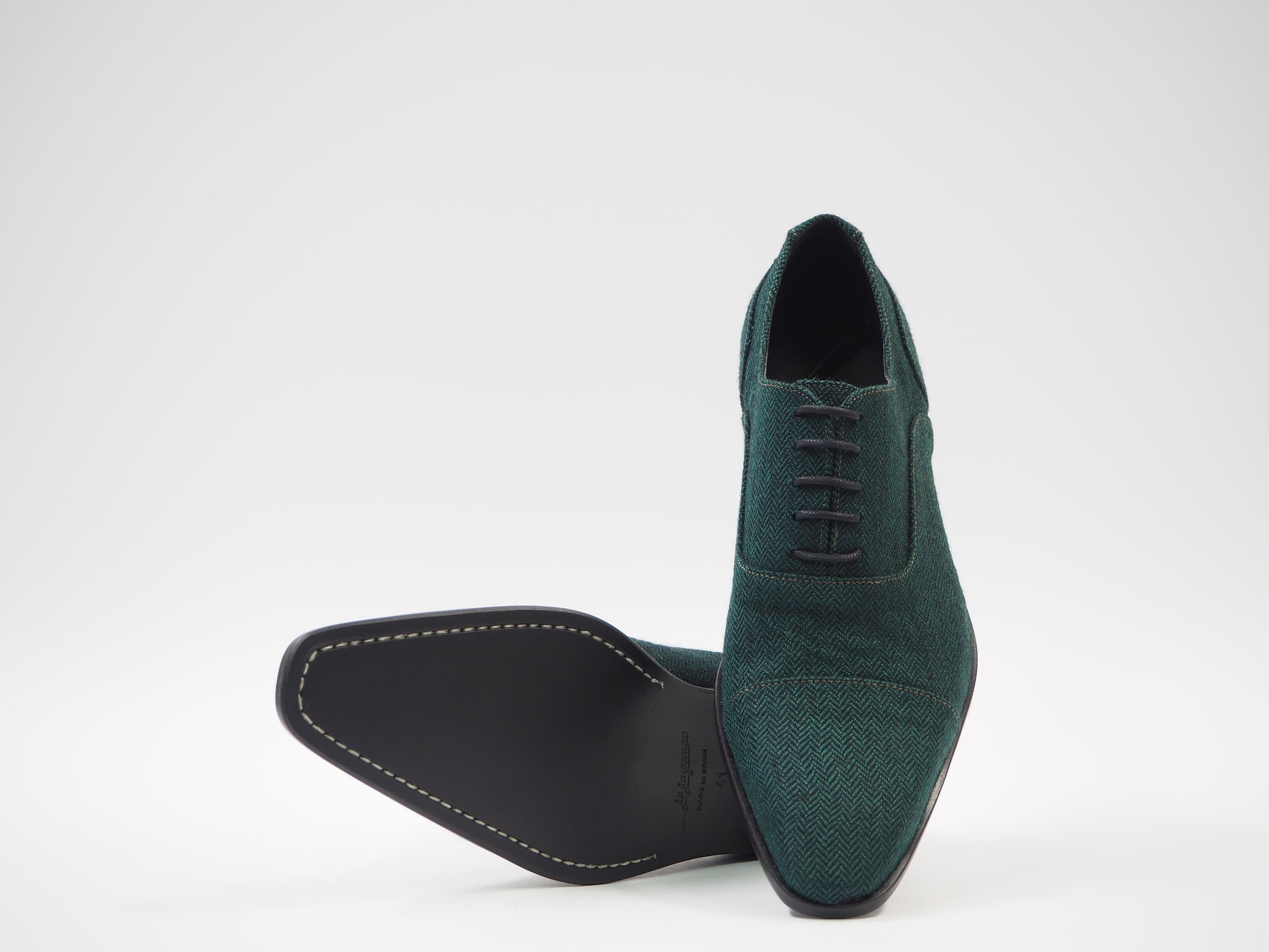 Size 41 - Green & Black Herringbone Oxford + Belt