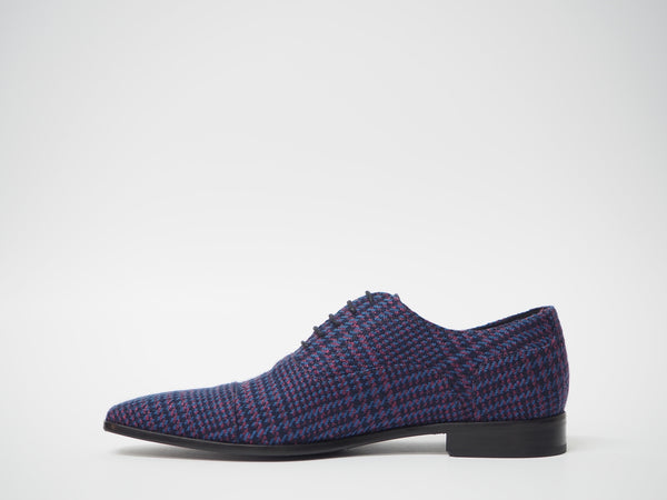 Size 44 - Maroon & Blue Houndstooth Oxford + Belt