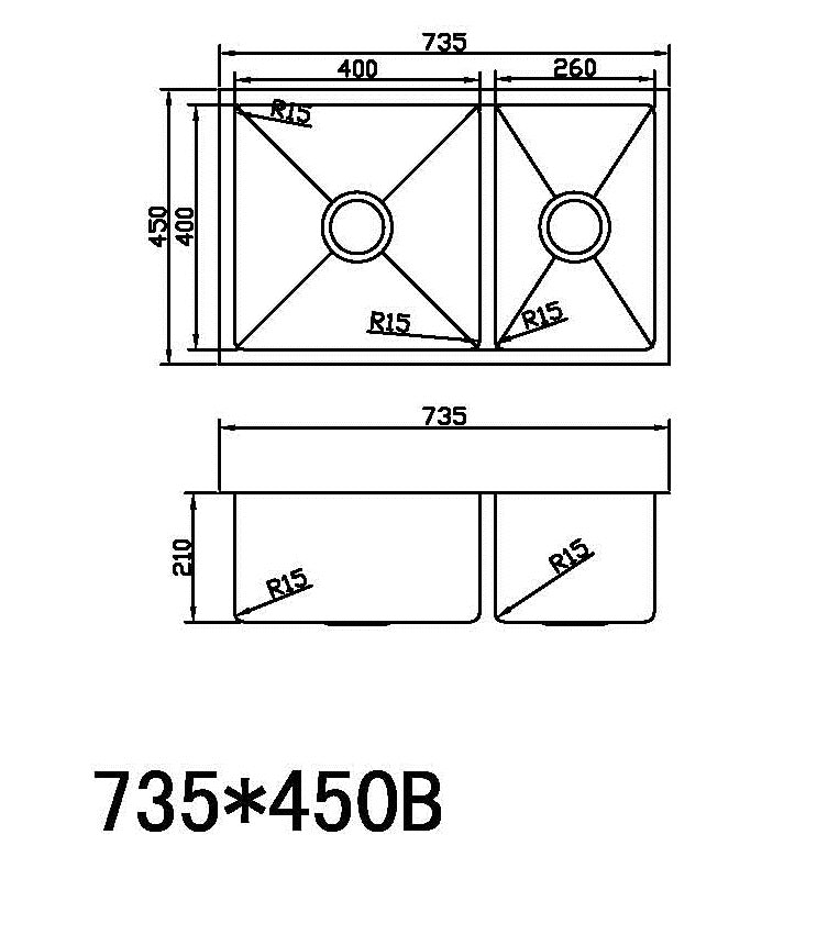 Kitchen Sink K735-450B,Kitchen Sinks,Under Mount Sinks,thebathroomoutlet