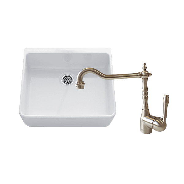 CHAMBORD CLOTAIRE SMALL SINGLE BOWL SINK & PALAIS KITCHEN MIXER IN BRUSHED NICKEL