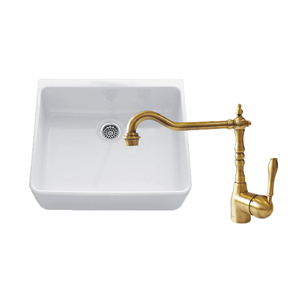CHAMBORD CLOTAIRE SMALL SINGLE BOWL SINK & PALAIS KITCHEN MIXER IN BRONZE