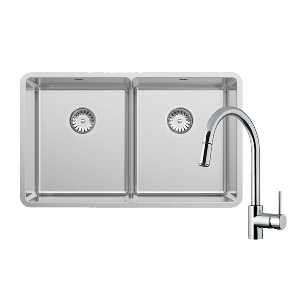 LUCIA DOUBLE BOWL WITH SK5-AV KITCHEN MIXER, DRAIN TRAY & CUTTING BOARD