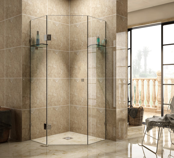 SFD Series Frameless Diamond Shaped Shower Screen 900mm SFD900,Showers,Shower Screen,thebathroomoutlet