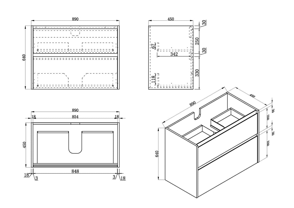 Caliber Series VMF900DW WGE Wall Hung,Vanities,900mm,thebathroomoutlet