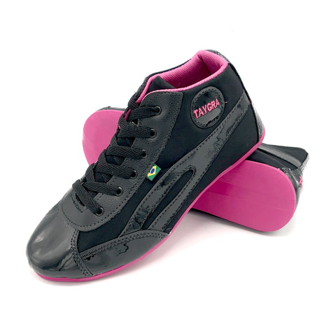 Women's High Top Black & Fuschia Dance Sneaker