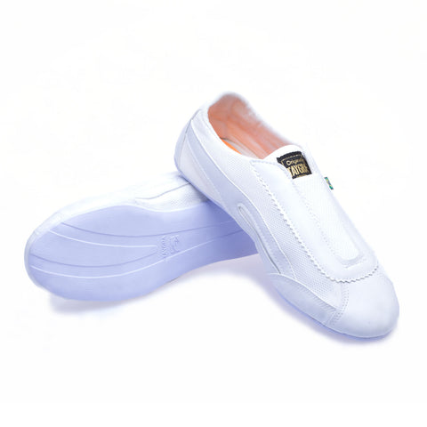 Unisex White Elastic Dance Shoe
