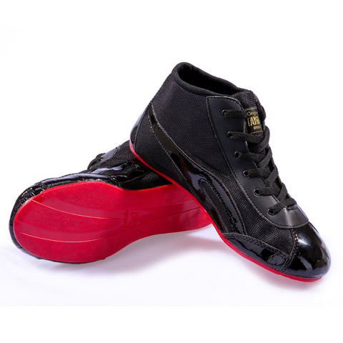Unisex High Top Black Patent & Red
