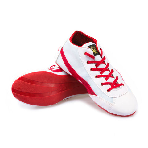 Unisex High Top White & Red Dance Sneaker