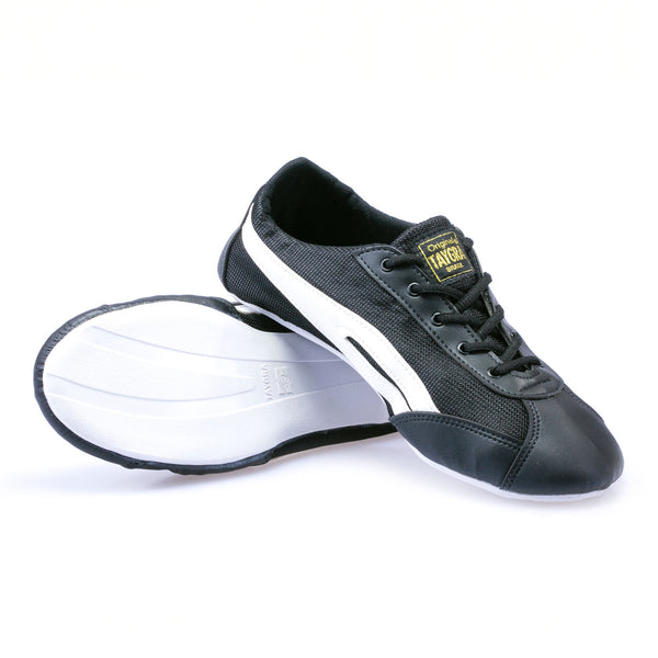 Unisex Slim Black & White Flex Training Dance Sneaker (white sole)