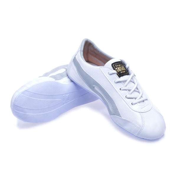 Unisex Slim White & Silver Flex Training Dance Sneaker