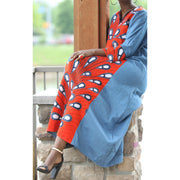 Orange Denim Ankara Caftan - Aweea Muslim Abaya, caftans, baby turbans