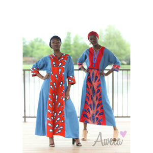 Orange Denim Ankara Caftan - Aweea Abaya, caftans