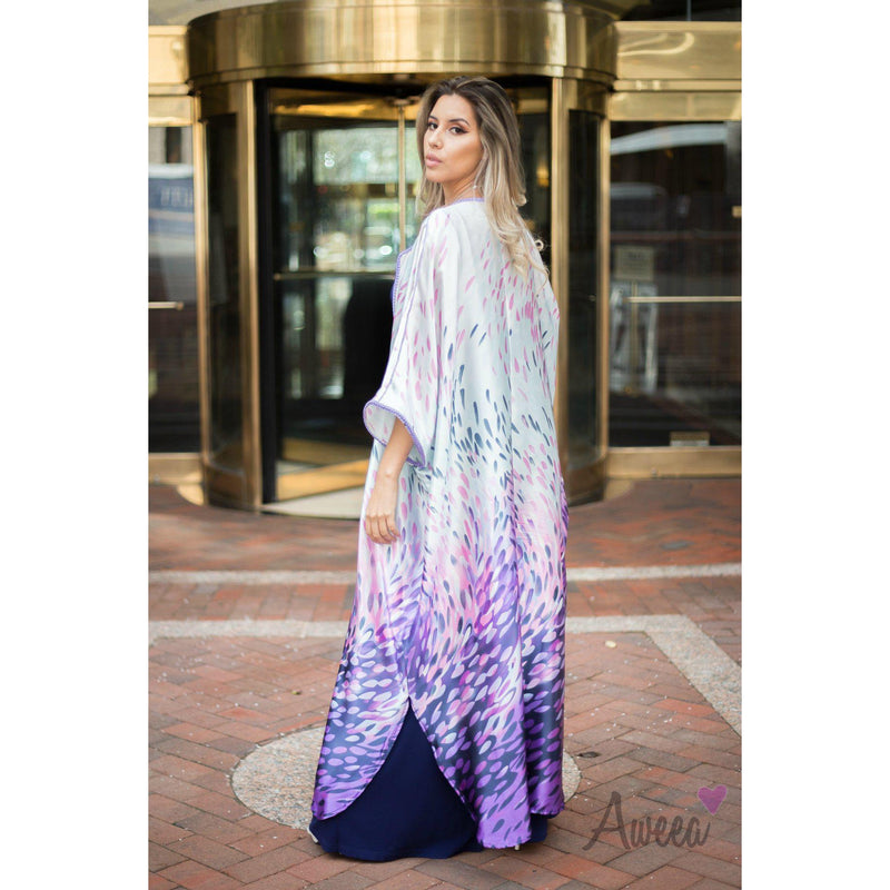 """Purple Leaves"" Satin Silk Abaya - Aweea Abaya, caftans"