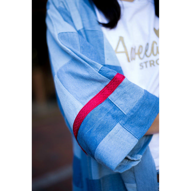 """Denim with a Red Twist"" Open Abaya - Aweea Muslim Abaya, caftans, baby turbans"